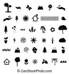 cor, pretas, ilustração, jogo, ícone, natureza