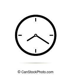 cor, pretas, ilustração, relógio