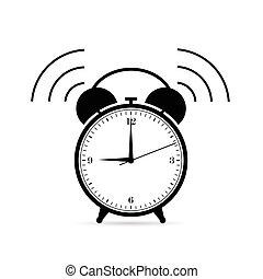 cor, pretas, tiquetaque, ilustração, relógio