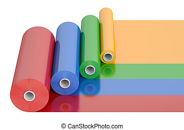 cor, pvc, polythene, plástico, fita, rolos, 3d, fazendo