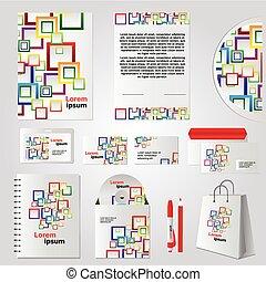 cor quadrada, elementos, desenho, modelo, papelaria