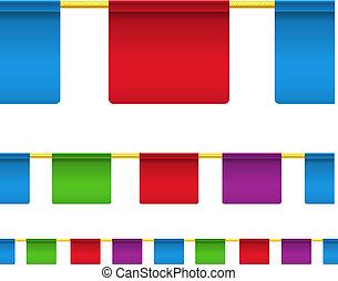 cor quadrada, isolado, bandeiras, branca, celebração