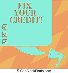 cor quadrada, texto, credit., equilíbrios, em branco, seu,...