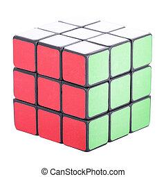 cor, quebra-cabeça, cubo, seis