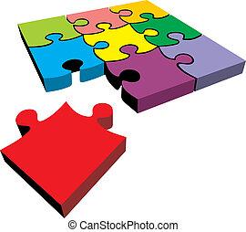 cor, quebra-cabeça, isolado, ligado, a, fundo branco