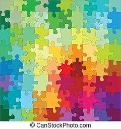 cor, quebra-cabeça, jigsaw