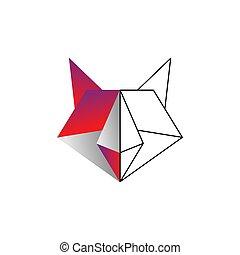 cor raposa, linha, origami, vetorial, ilustração, desenho, modelo