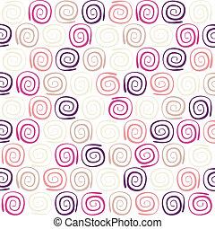 cor, redemoinho, retro, padrão
