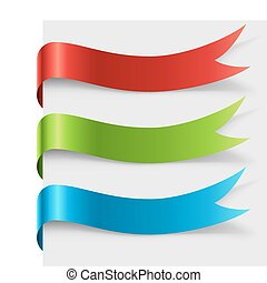 cor, redondo, em branco, curvado, página, fita