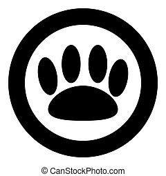cor, redondo, pretas, animal, pegada, círculo, ou, ícone