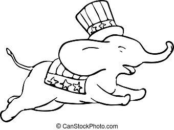 cor, republicano, desenho, pular, elefante