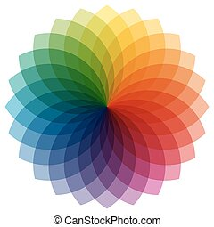 cor, roda, com, overlaying, cores