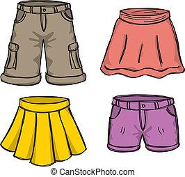cor, saias, calças