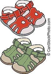 cor, sandálias, criança