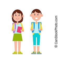 cor, schoolgirl, vetorial, ilustração, aluno