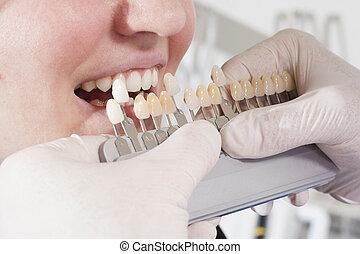 cor, selecione, dentes