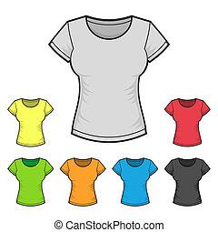 cor, set., mulheres, t-shirt, vetorial, desenho, modelo
