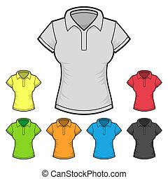 cor, set., mulheres, t-shirt, vetorial, desenho, modelo, pólo