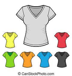 cor, set., mulheres, t-shirt, vetorial, desenho, modelo, v-neck