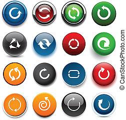 cor, seta, redondo, icons.