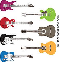 cor, silhuetas, guitarras acústicas, vetorial, elétrico