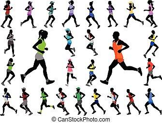 cor, silhuetas, sportswear, corredores, cobrança