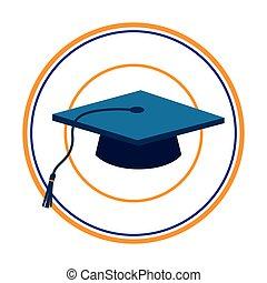 cor, silueta, com, escuro azul, boné graduação, em, quadro circular