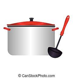 cor, silueta, com, panelas, e, ladle sopa