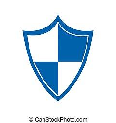 cor, silueta, com, proteção, escudo