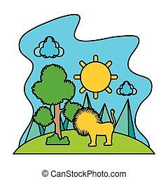 cor, sol, árvore, leão, macho, paisagem
