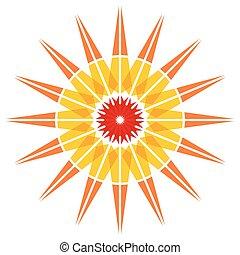 cor, sol, ilustração