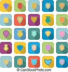 cor, sombra, escudo, longo, ícones