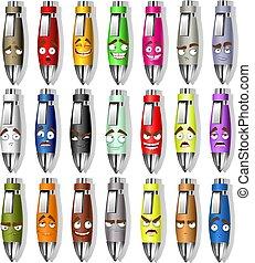 cor, sorrisos, jogo, canetas, lembrança