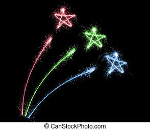 cor, sparkler, fogo artifício