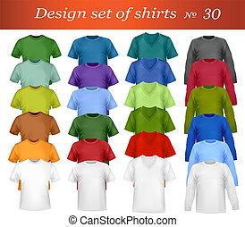 cor, t-shirt, desenho, template.
