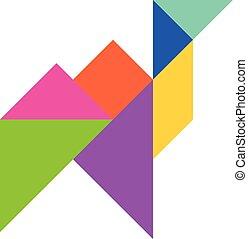 cor, tangram, quebra-cabeça, em, camelo, forma, branco, fundo, (vector)