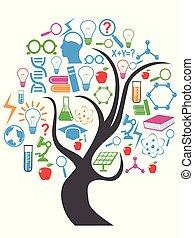 cor, tecnologia, educação, árvore