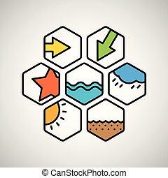 cor, teia, diferente, interface, ícones