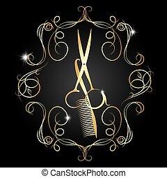 cor, tesouras, pente, ouro, hairdressing