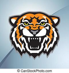cor tigre, cabeça, mascote