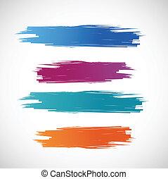 cor, tinta, bandeiras, ilustração