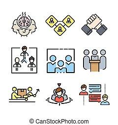 cor, trabalho equipe, jogo, ícone