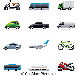 cor, -, transporte, ícones