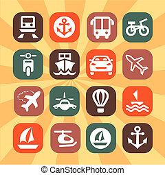 cor, transporte, ícones