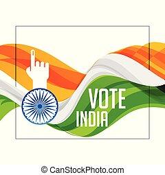 cor tri, mão, bandeira, indianas, votando