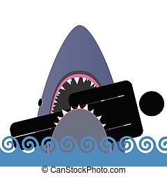 cor, tubarão, vetorial, ilustração, ícone