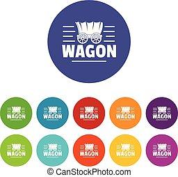 cor, vagão, vetorial, jogo, ícones