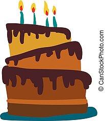 cor, velas, ilustração, chocolate, escuro, glowing, vetorial, three-layered, bolo, desenho, ou
