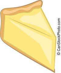 cor, vetorial, bolo queijo, ou, illustration., cortado