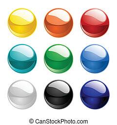 cor, vetorial, esferas